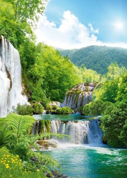 Купить фотообои для стен: Каскад водопадов
