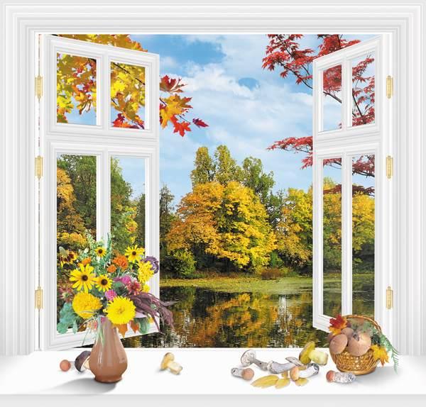 осень из окна картинки