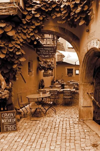 Купить фотообои для стен: Кафе во Франции, сепия