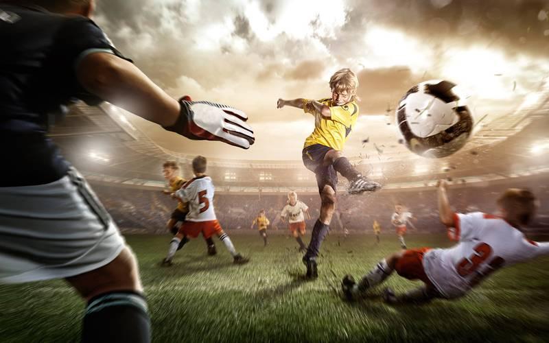 Купить фотообои для стен: Футбол, молодой чемпион