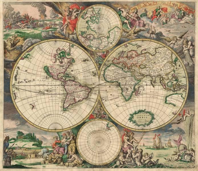 Купить фотообои для стен: World map, фреска