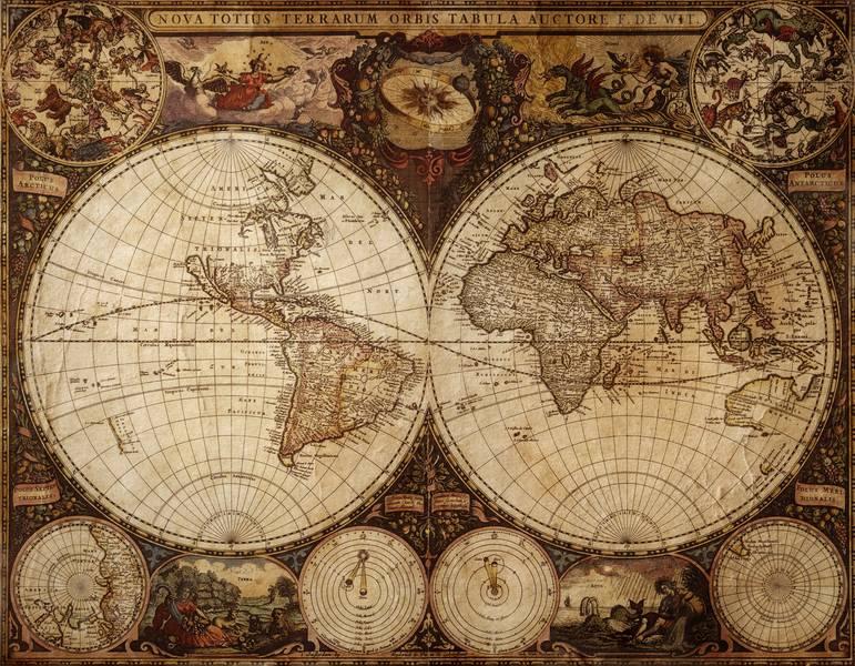 Купить фотообои для стен: Старинная карта