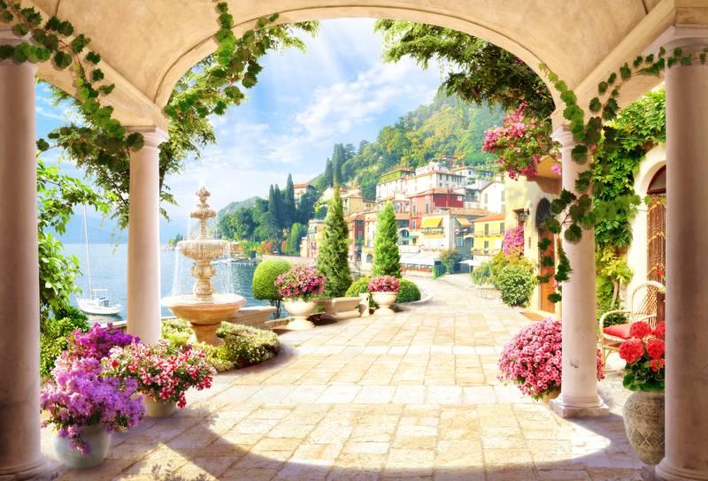 Купить фотообои для стен: Набережная с фонтаном