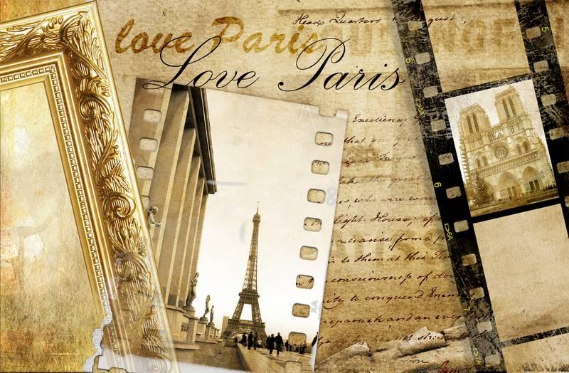 Купить фотообои для стен: Париж, воспоминания