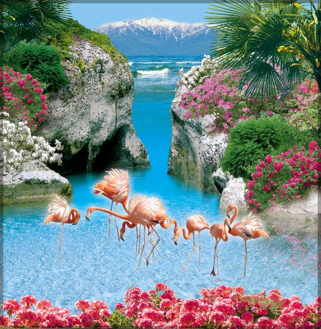 Купить фотообои для стен: Фламинго