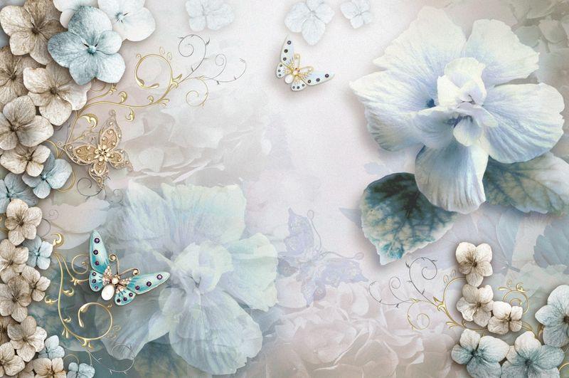 Купить фотообои для стен: Нежно-голубой букет