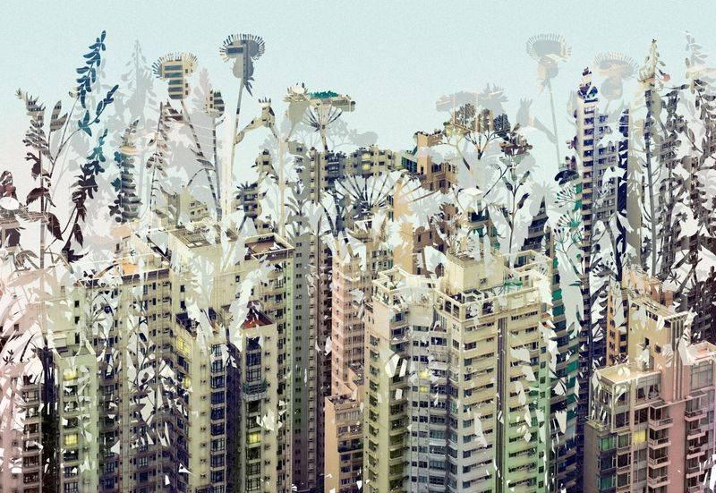 Купить фотообои для стен: Город в цветах