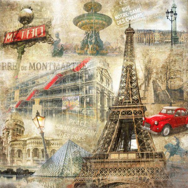 Купить фотообои для стен: Ретро коллаж Париж
