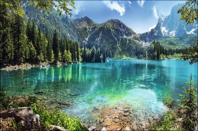 Купить фотообои для стен: Горное озеро