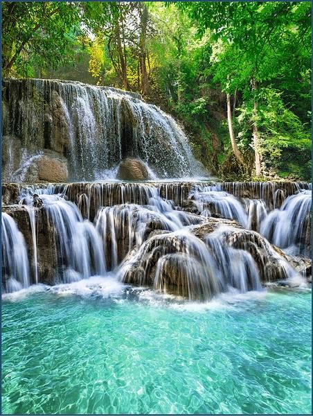 Купить фотообои для стен: хрустальные водопады