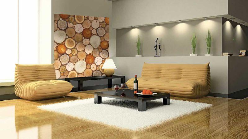 Деревянная мозаика - фотообои в интерьере