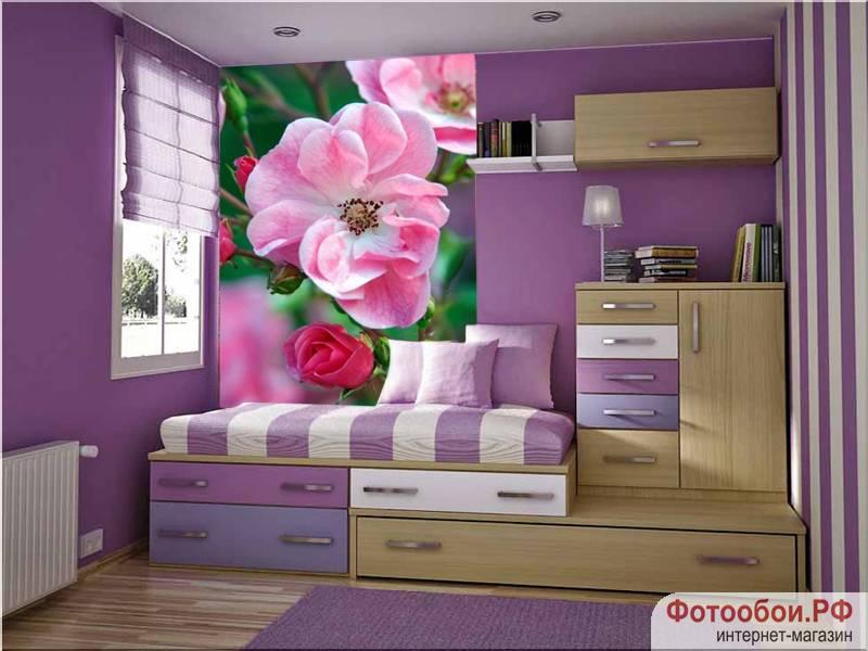 Чайная роза - фотообои в интерьере