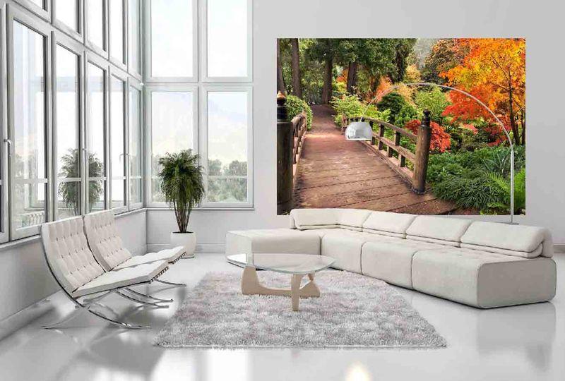 Мостик в осень - фотообои в интерьере