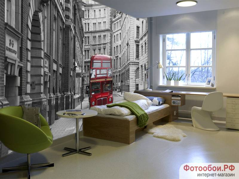Лондонский автобус - фотообои в интерьере
