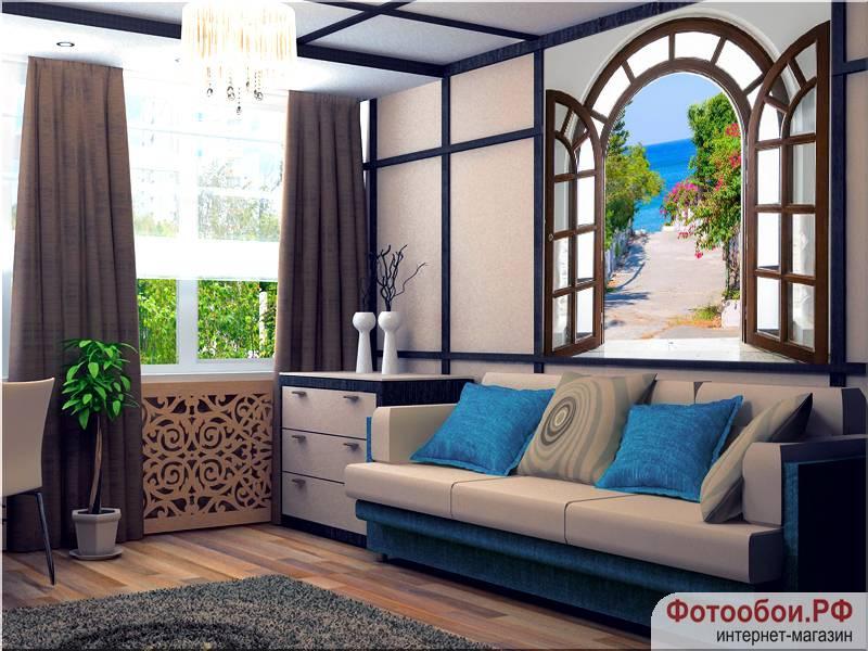 Фотообои в интерьере для спальни: фотообои расширяющие пространство, окна, окно в море, пейзаж, море, на стену, в спальню, вид на море