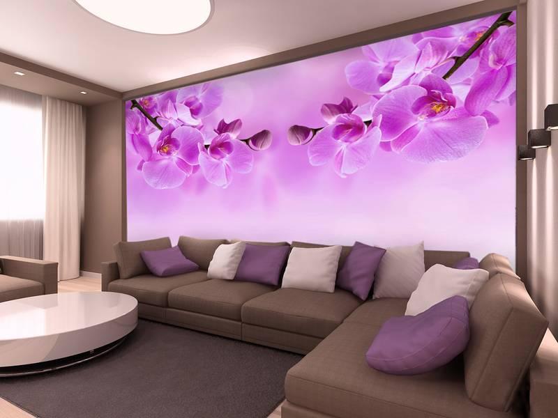 Фотообои в интерьере для кухни: фотообои цветы, орхидеи, обои в сиреневых тонах, для спальни, под заказ