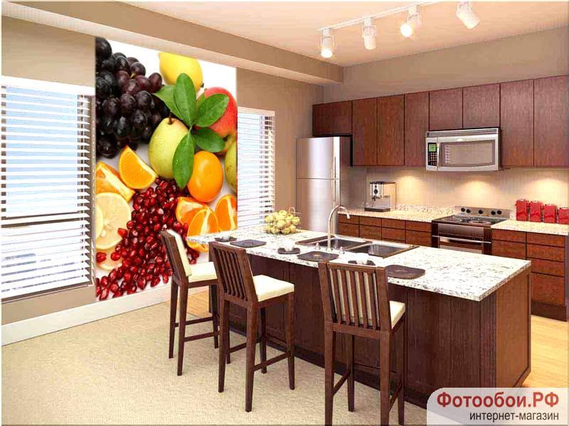 Фотообои в интерьере для кухни: фотообои фрукты, для кухни, еда