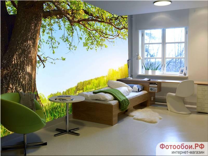 Фотообои в интерьере для спальни: фотообои деревья, природа, для спальни, под деревом, пейзаж