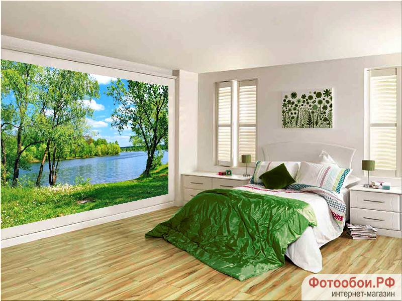 Фотообои в интерьере для спальни: фотообои природа, озеро, природа, пейзаж, русская природа, на озере