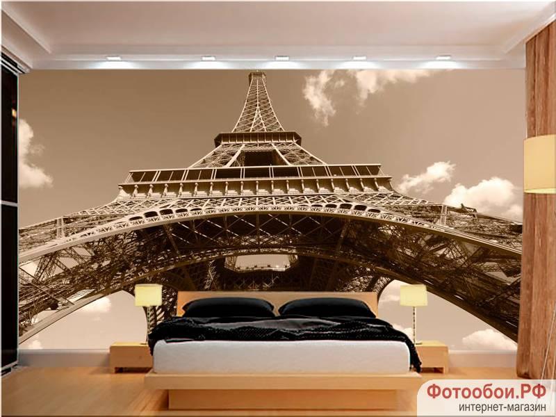Фотообои в интерьере для кухни: фотообои Париж, Эйфелева башня, города, фрески, сепия, башня, для спальни, для гостиной, для кухни
