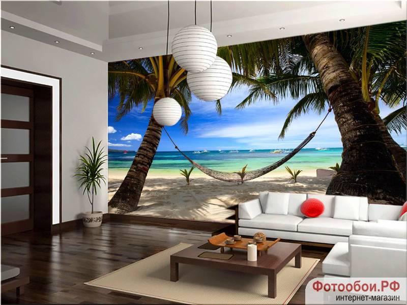 Фотообои в интерьере для спальни: фотообои море, пляж, пальмы, морской пейзаж, вид на море, на пляже, на берегу, побережье