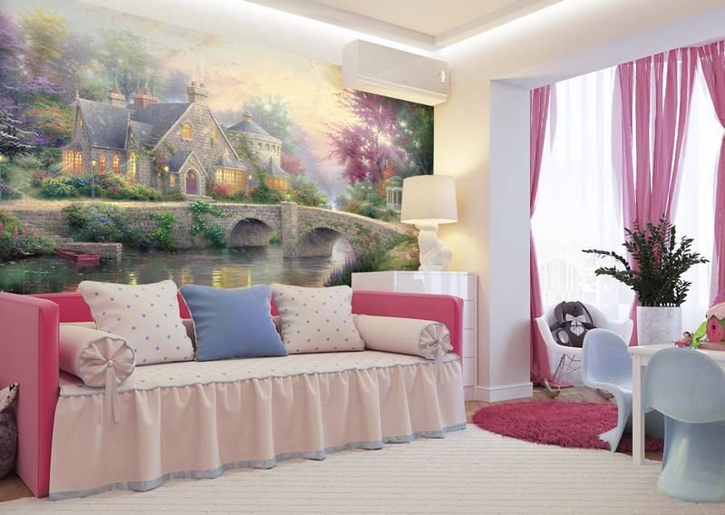 Фотообои в интерьере для спальни: фотообои детские, сказочный пейзаж, Кинкад, для детской, пейзажи, в сказке Кинкада, с мостом