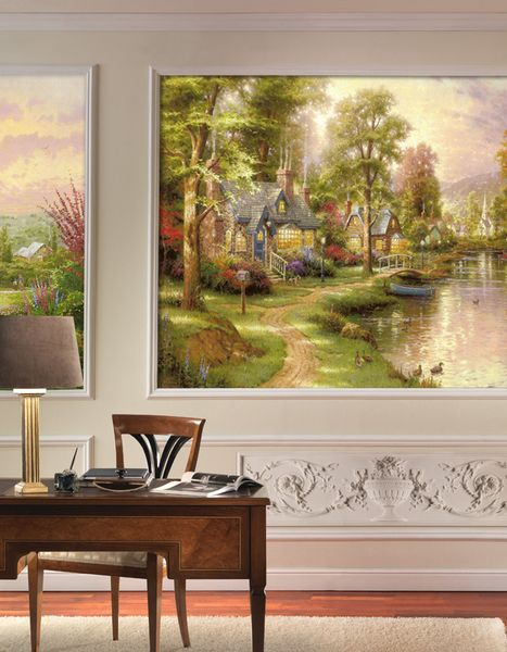 Фотообои в интерьере для спальни: фотообои детские, сказочный пейзаж, пейзаж, Кинкад, в сказке Кинкада, природа