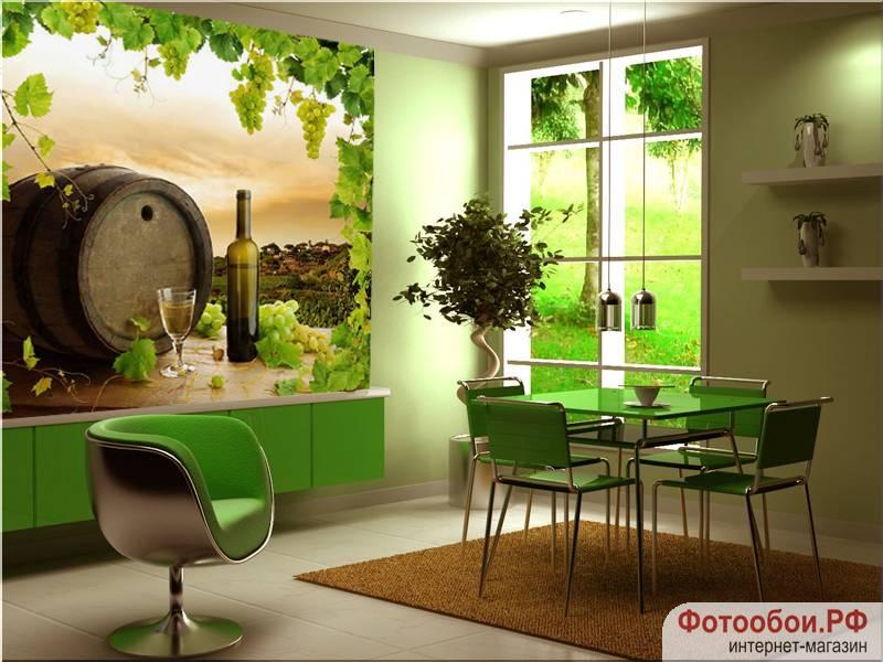 Фотообои в интерьере для кухни: фотообои для кухни, бочка вина, виноградная лоза, еда, напитки