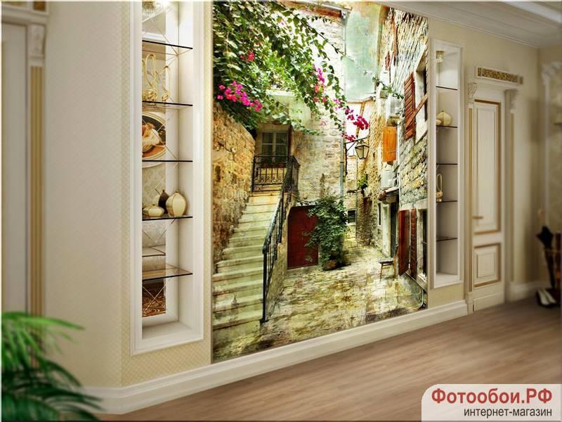 Фотообои в интерьере для спальни: фотообои улочки, древние улочки, улочка Хорватии, в коридор, фрески, Хорватия