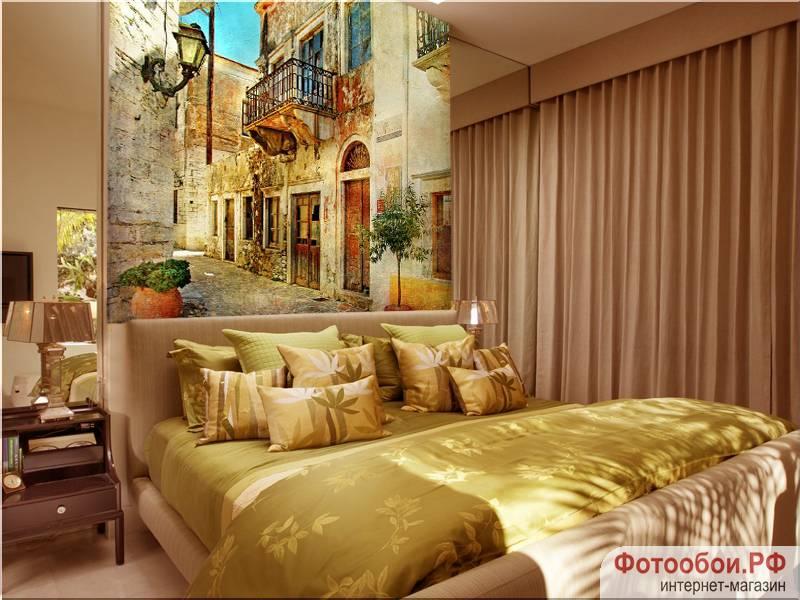 Фотообои в интерьере для спальни: фотообои улочки, древние улочки, улочка Греции, фрески, улочки
