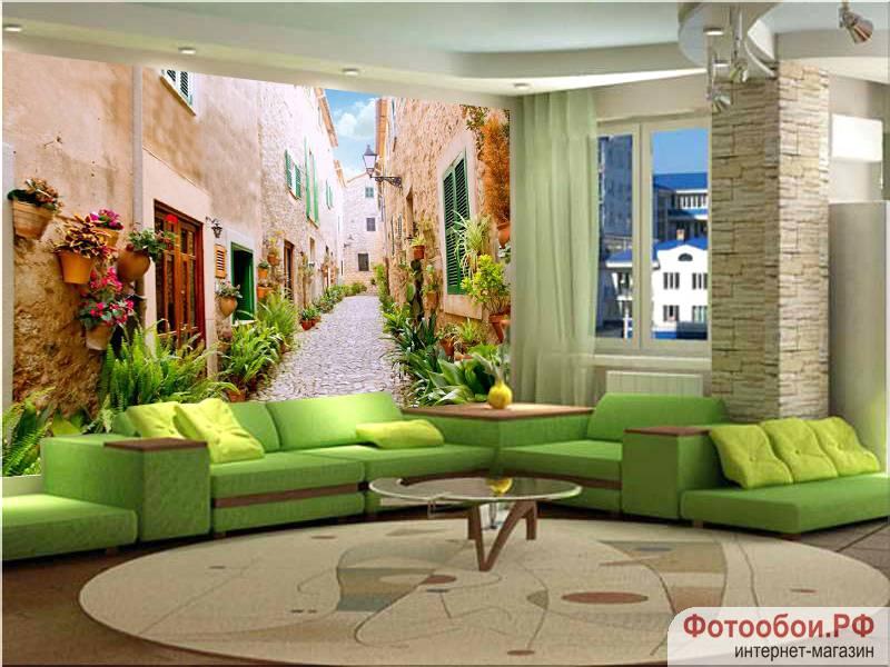 Фотообои в интерьере для кухни: фотообои улочки, улочки Испании, древняя улочка, дворик, расширяющие пространство, Майорка, Испания, улочка с цветами