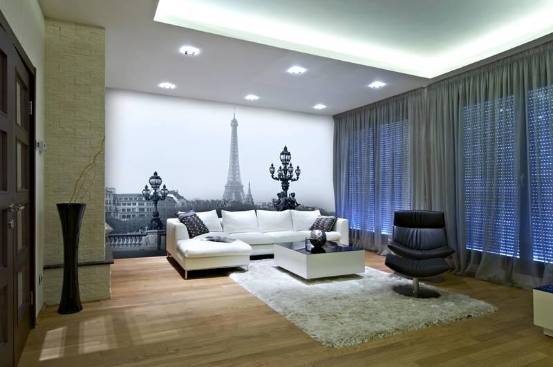 Фотообои в интерьере для кухни: фотообои Париж, города, черно-белый Париж, мост, Эйфелева башня, мост
