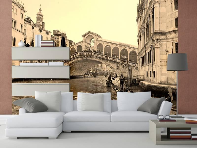 Фотообои в интерьере для кухни: фотообои Венеция, сепия, фрески, гандолы, мост