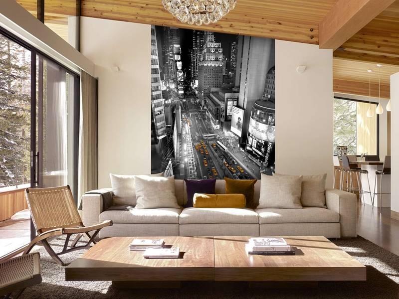 Фотообои в интерьере для кухни: фотообои Манхэттен, ночной город, черно-белый город, желтое такси, Нью-Йорк