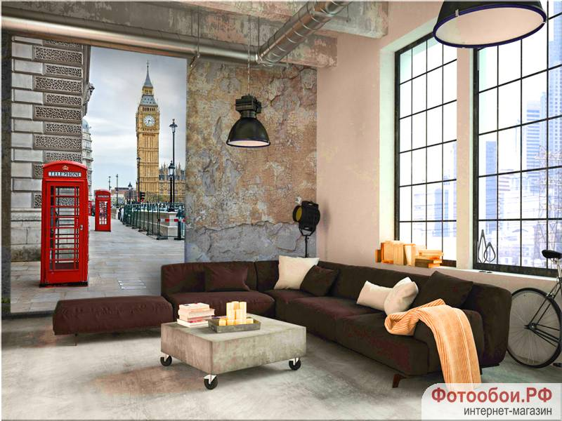 Фотообои в интерьере для кухни: фотообои Лондон, Биг-бен, красная будка, Англия, города
