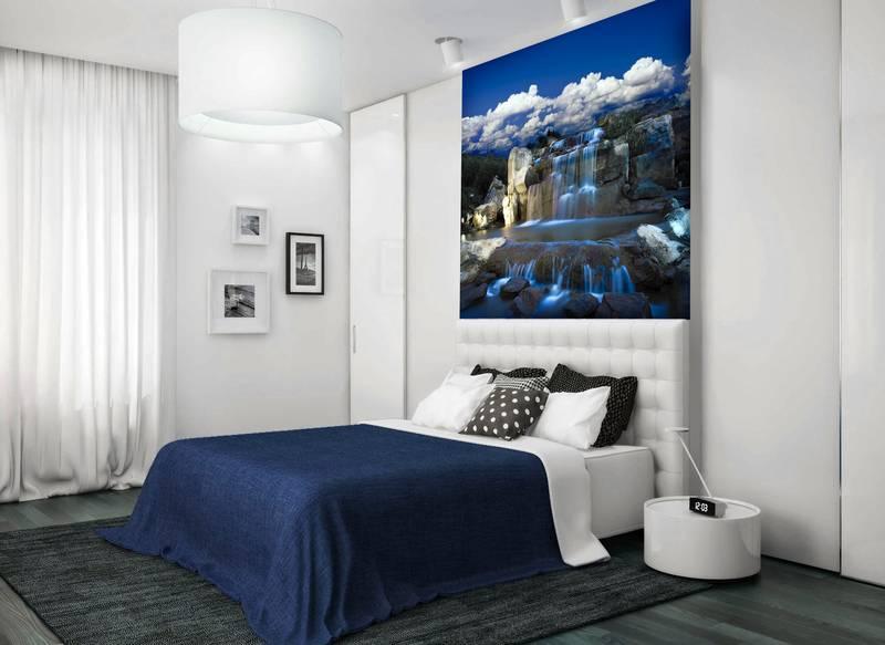 Фотообои в интерьере для спальни: фотообои водопад, красивый водопад, природа, красивый пейзаж, обои в синих тонах, для спальни