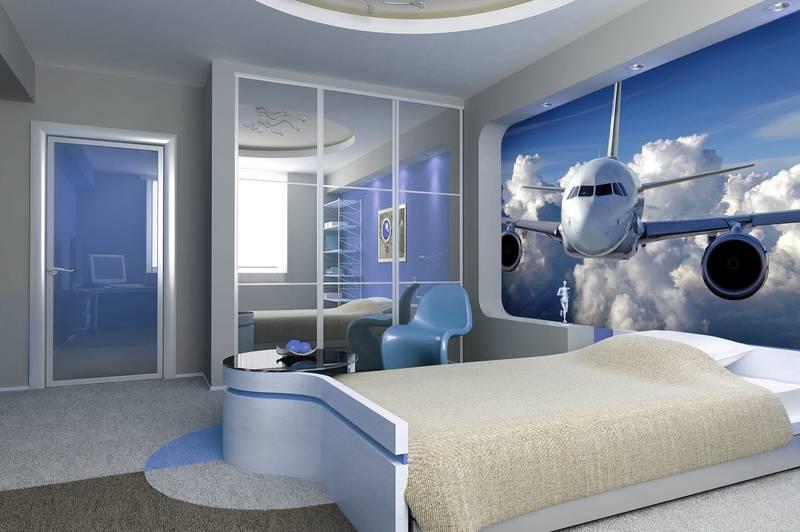 Фотообои в интерьере для спальни: фотообои лайнер, самолет, голубое небо, для детской, для мальчика, полет, в кабинет, авиа