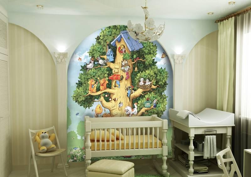 Фотообои в интерьере детской комнаты: фотообои детские, лесной домик, детское дерево, в детскую, милые зверята, дерево домик