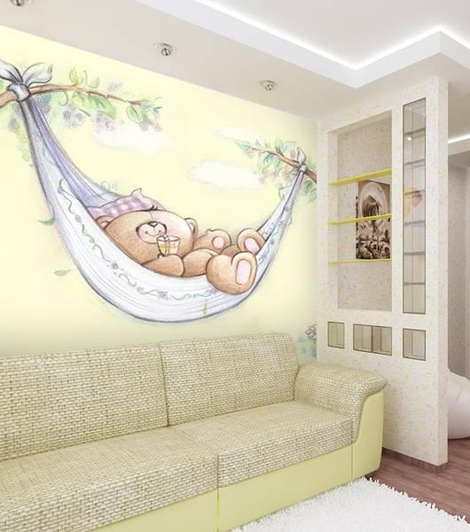 Фотообои в интерьере детской комнаты: фотообои мишка, мишка Тедди, детские обои, в детскую, рисованный мишка