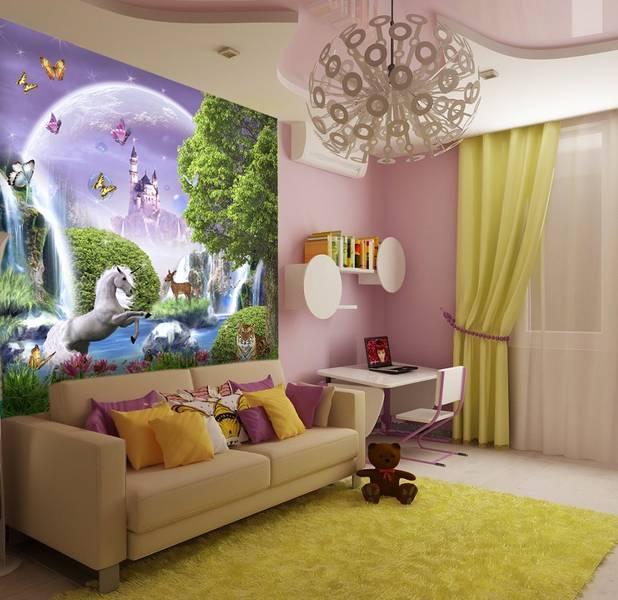 Фотообои в интерьере детской комнаты: фотообои детские, озеро феи, волшебное озеро, единорог, в детскую, для девочек, волшебный замок