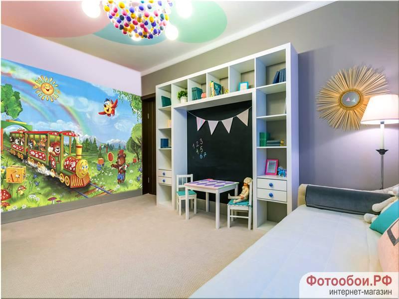 Фотообои в интерьере детской комнаты: фотообои детские, паровозик, милые зверята, обои для детской комнаты, рисованные звери, паровозик, мишка