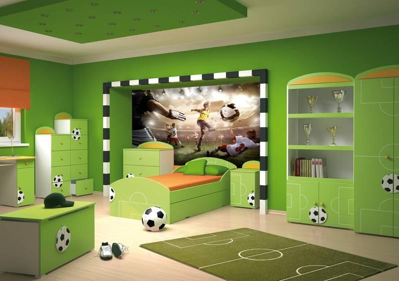 Фотообои в интерьере детской комнаты: фотообои футбол, в детскую, для подростка, спорт, спортивные, для мальчика