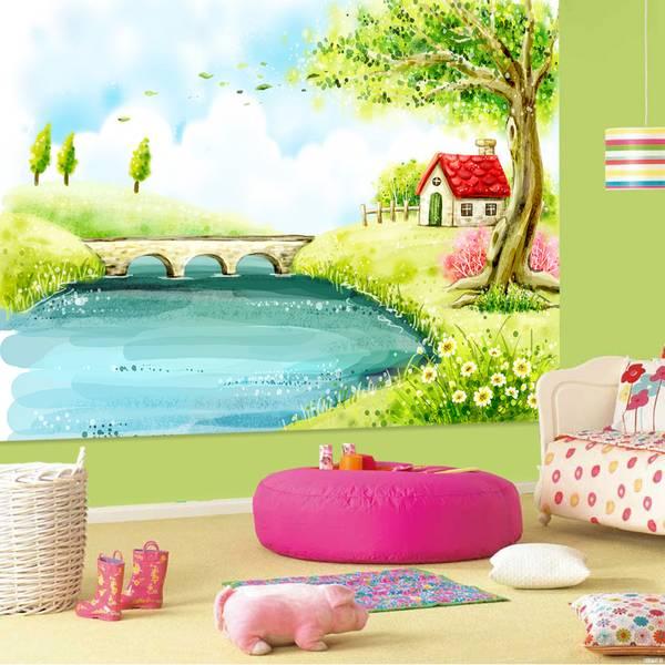 Фотообои в интерьере детской комнаты: фотообои детские, акварель, природа, пейзаж, дерево, fantasy, в детскую