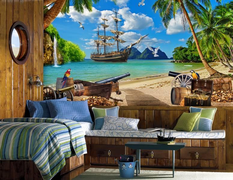 Фотообои в интерьере детской комнаты: фотообои остров сокровищ, детские, морской стиль, пиратский стиль, сундук золота, корабль пиратов, море, попугай, в детскую
