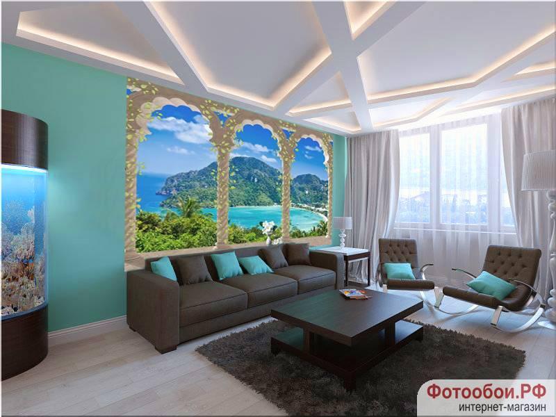 Фотообои в интерьере для спальни: фотообои терраса, арки, вид на море, живописный пейзаж, природа