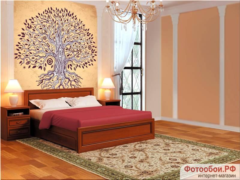 Фотообои в интерьере для спальни: фотообои дерево, винтажное дерево, древо, фотообои для спальни, дерево