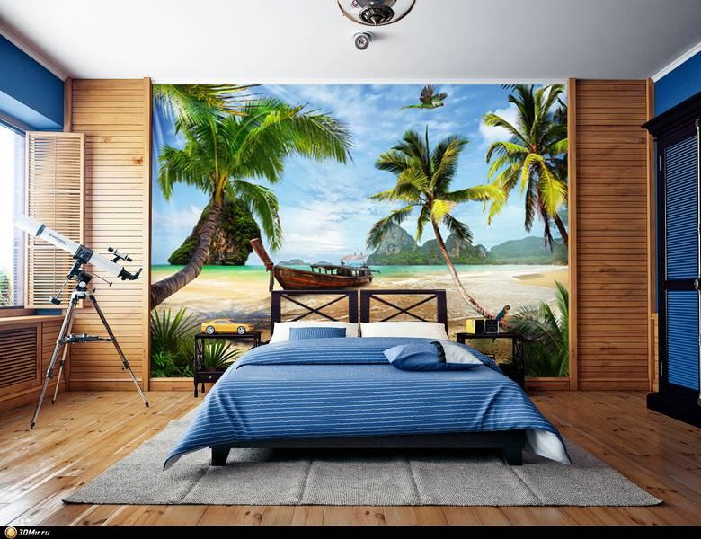 Фотообои в интерьере для спальни: фотообои море, пальмы, пальмовый пляж, побережье, вид на море, остров