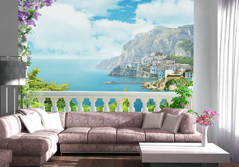 Фотообои в интерьере для кухни: фотообои вид на море, море, пальмы, терраса, живописный пейзаж, балкон