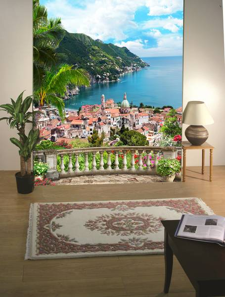 Фотообои в интерьере для спальни: фотообои вид на море, море, пальмы, терраса, живописный пейзаж, балкон