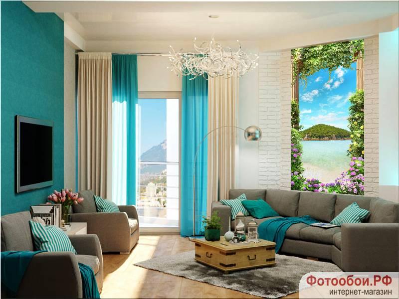 Фотообои в интерьере для спальни: фотообои вид на море, арки, балкон, живописный вид